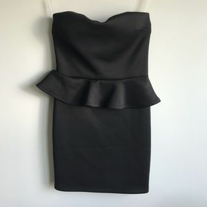 Windsor Black Peplum Strapless Dress